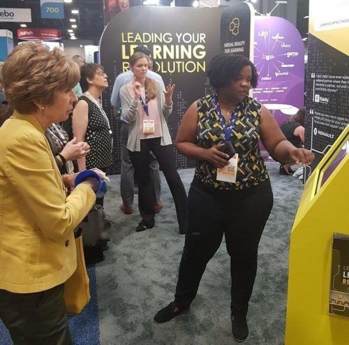 LEO's Tabitha Joyner demonstrating a learning game at ATD 2019 in Washington DC