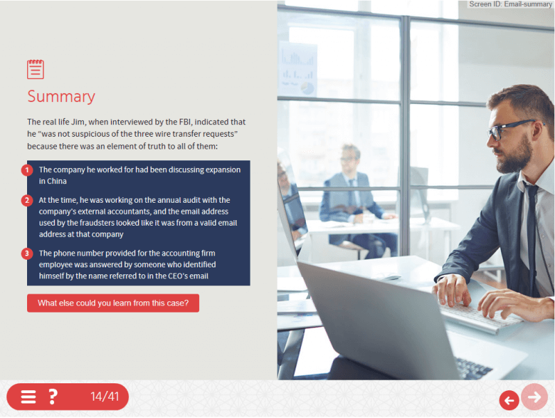 A screenshot from compliance eLearning that uses good storytelling techniques