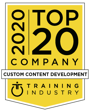 LEO Learning Top 20 Custom Content Company 2020 - Training Industry award badge