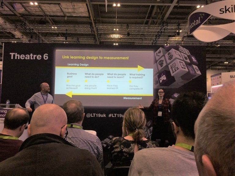 LEO Learning's Rose Benedicks and Andrew Joly at Learning Technologies 2019