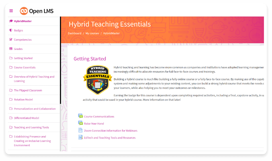 hybrid teaching essentials ui
