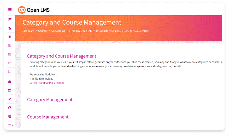 category and course management ui