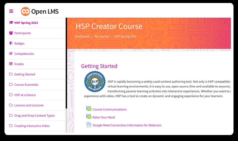 h5p creator course ui