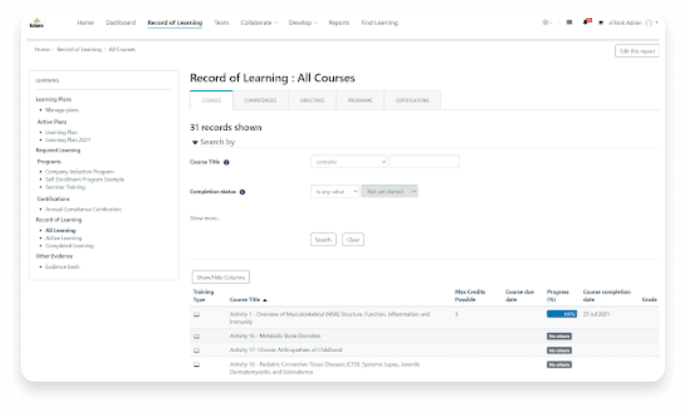 totara record of learning ui
