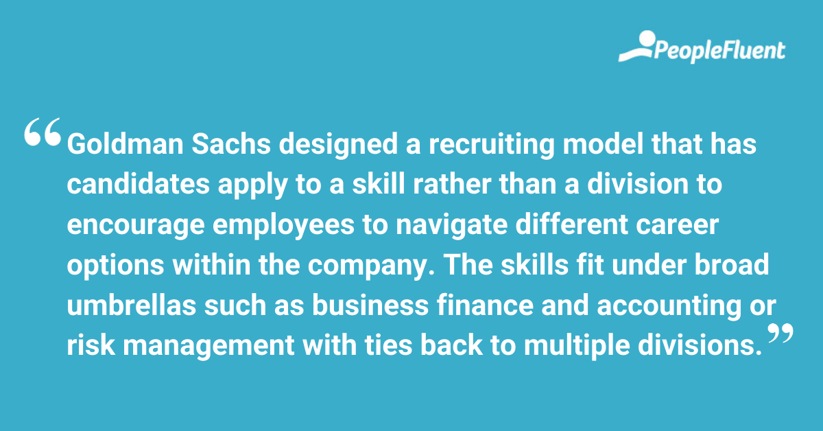 """This is a quote: """"Goldman Sachs designed a recruiting model that has candidates apply to a skill rather than a division to encourage employees to navigate different career options within the company. The skills fit under broad umbrellas such as business finance and accounting or risk management with ties back to multiple divisions."""""""