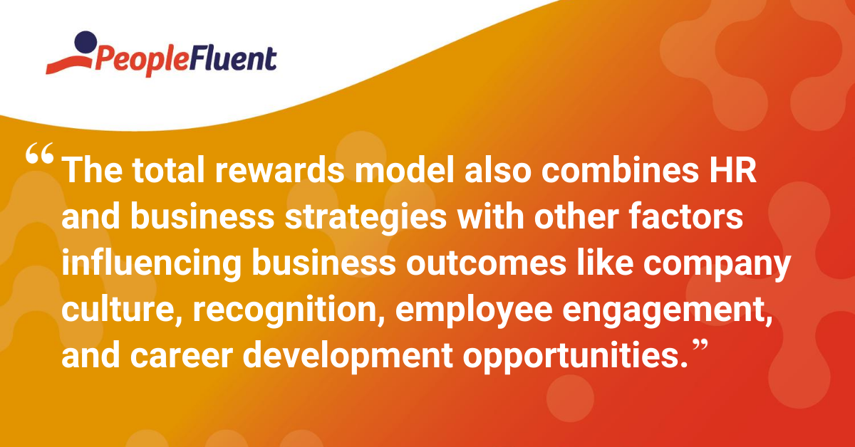 The total rewards model also combines HR and business strategies with other factors influencing business outcomes like company culture, recognition, employee engagement, and career development opportunities.