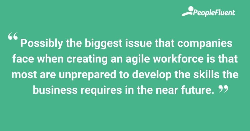 This is an image: the biggest issue that companies face when creating an agile workforce is that most are unprepared to develop the skills the business requires in the near future.