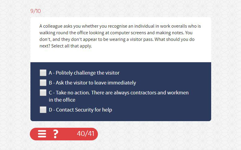 An example of an eLearning assessment question from a question bank