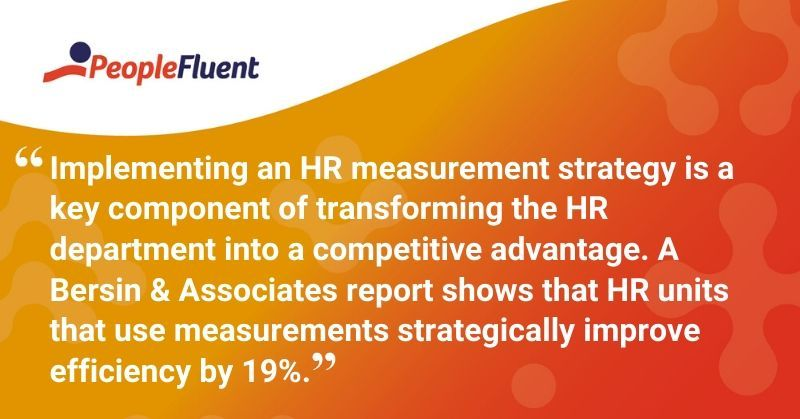 "This is a quote: ""Implementing an HR measurement strategy is a key component of transforming the HR department into a competitive advantage. A Bersin & Associates report shows that HR units that use measurements strategically improve efficiency by 19%."""