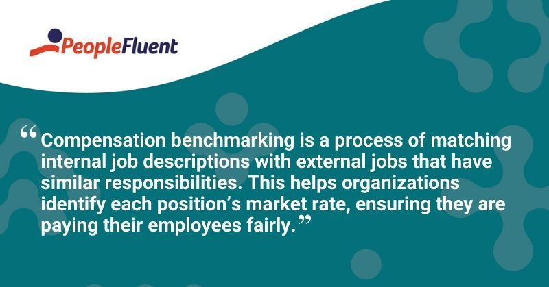 This is a quote: Compensation benchmarking is a process of matching internal job descriptions with external jobs that have similar responsibilities. This helps organizations identify each position's market rate, ensuring they are paying their employees fairly.""