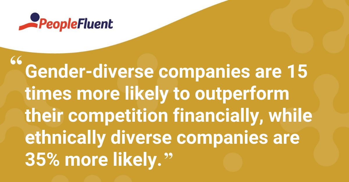 Gender-diverse companies are 15 more likely to outperform their competition financially, while ethnically diverse companies are 35% more likely.