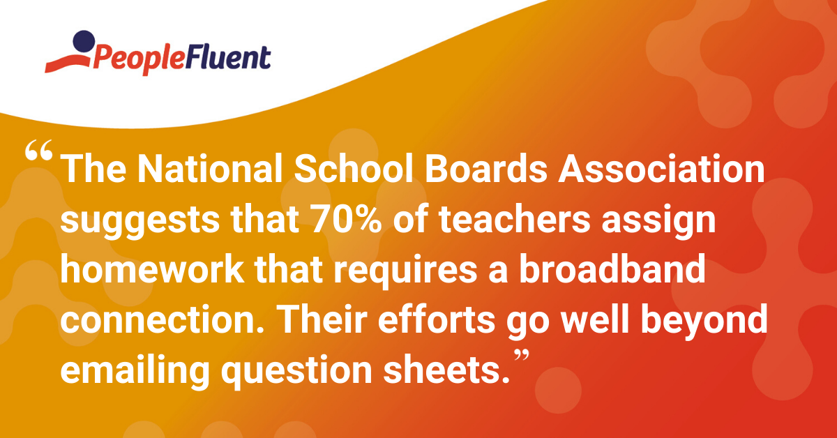"""The National School Boards Association in the US suggests that 70% of teachers assign homework that requires a broadband connection. Their efforts go well beyond emailing question sheets."""