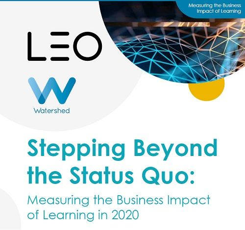 The front cover of LEO Learning and Watershed's 2020 Measuring the Business Impact of Learning survey