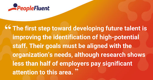 "This is a quote: ""The first step toward developing future talent is improving the identification of high-potential staff. Their goals must be aligned with the organization's needs, although research shows less than half of employees pay significant attention to this area."""
