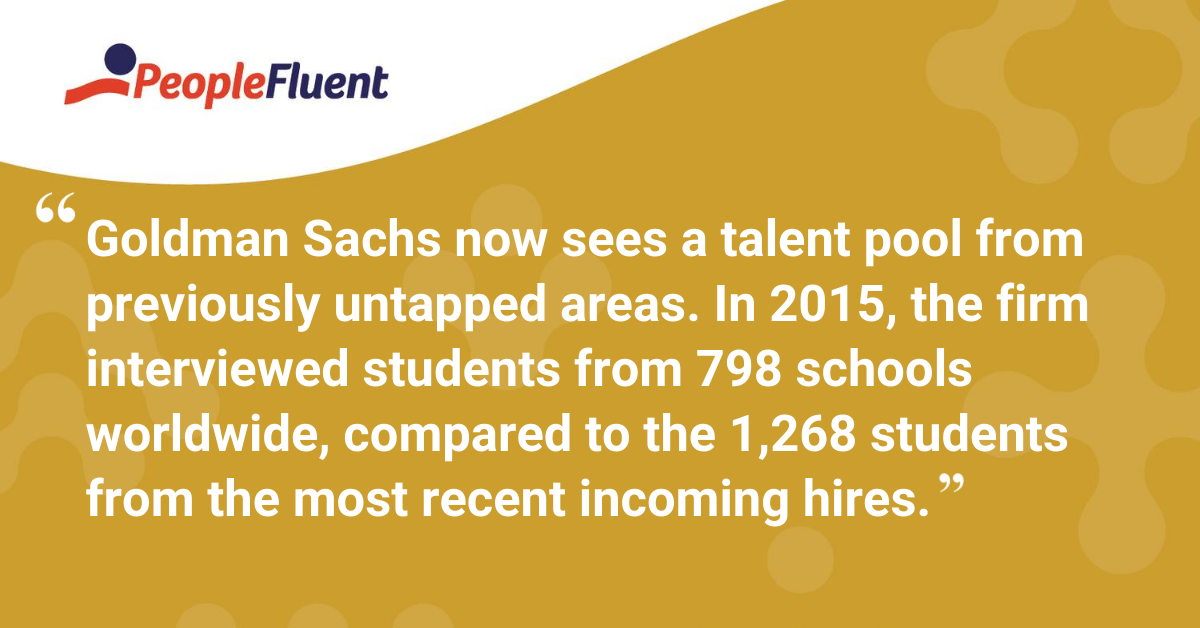 Goldman Sachs now sees a talent pool from previously untapped areas. In 2015, the firm interviewed students from 798 schools worldwide, compared to the 1,268 students from the most recent incoming hires.