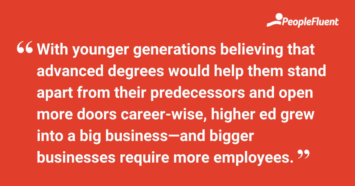 With younger generations believing that advanced degrees would help them stand apart from their predecessors and open more doors career-wise, higher ed grew into a big business—and bigger businesses require more employees.