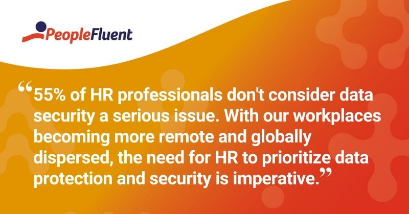 """This is a quote: """"55% of HR professionals don't consider data security a serious issue. With our workplaces becoming more remote and globally dispersed, the need for HR to prioritize data protection and security is imperative."""""""