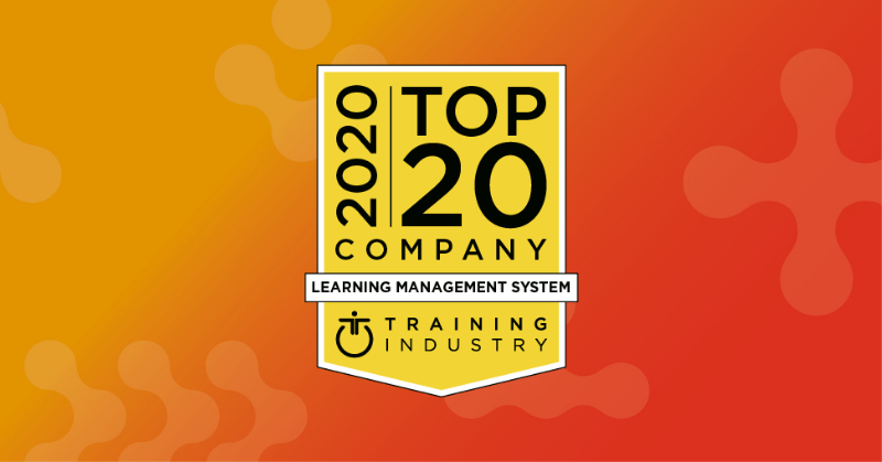 This is a graphic: PeopleFluent recognized as one of the Top 20 LMS companies by Training Industry.