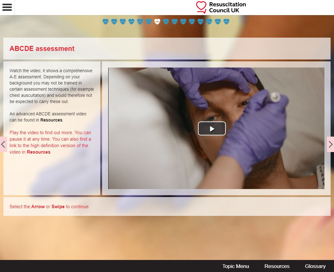 Resuscitation Council UK Video learning delivered via Instilled by PeopleFluent and Gomo authoring tool