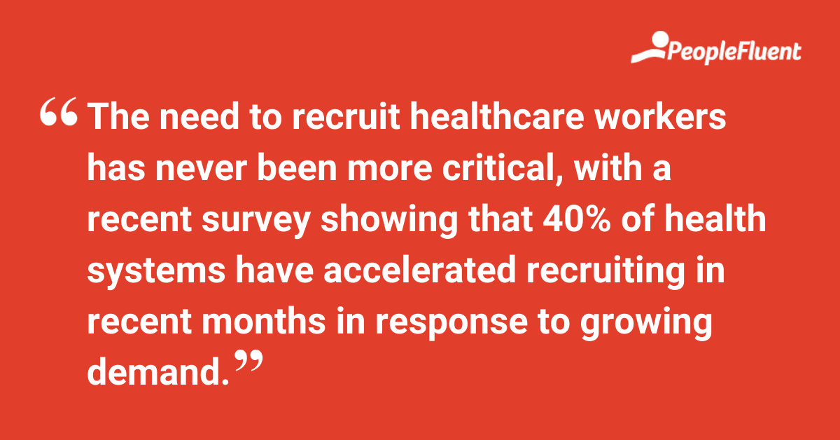 The need to recruit these workers has never been more critical, with a recent survey showing that 40% of health systems have accelerated recruiting in recent months in response to growing demand.