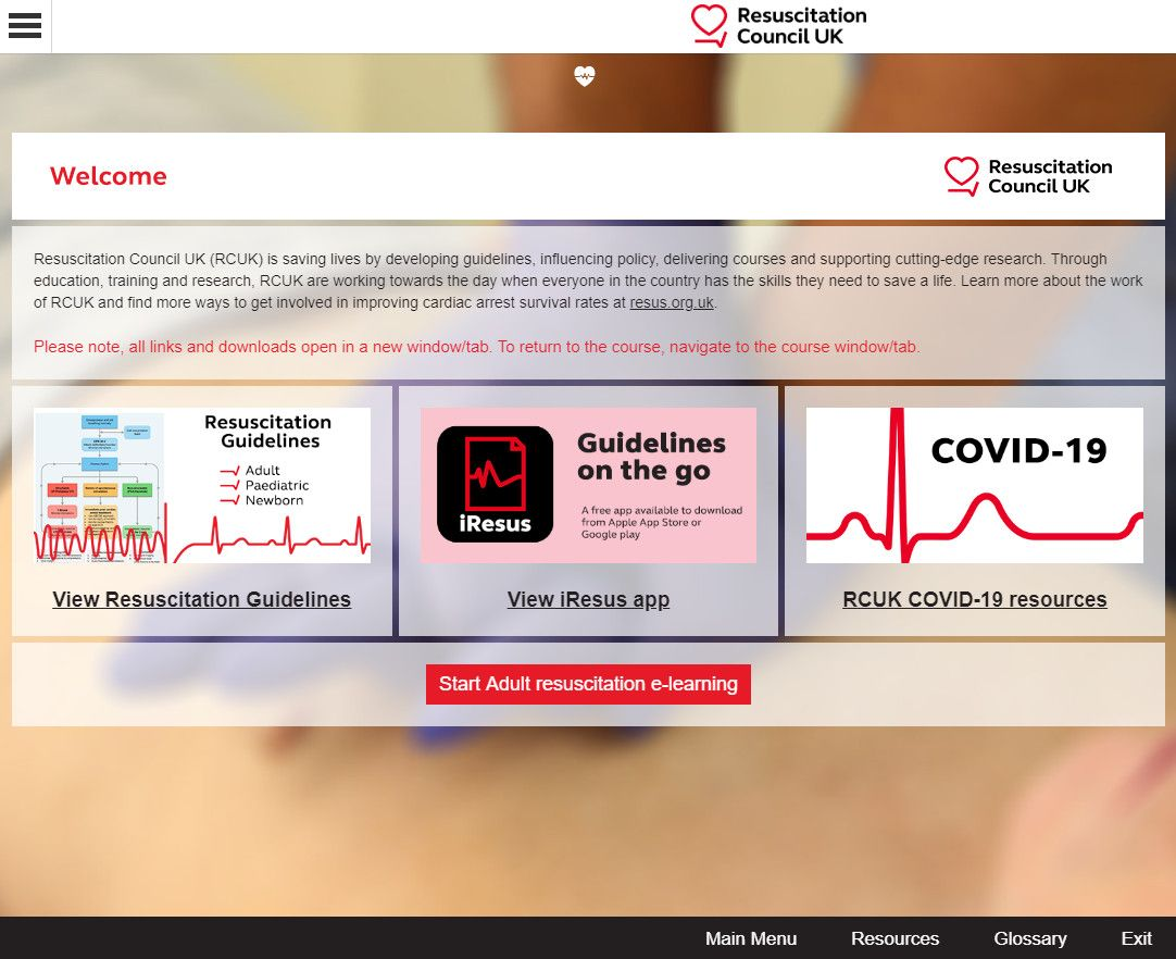 Resuscitation training welcome screen with essential links for NHS clinicians