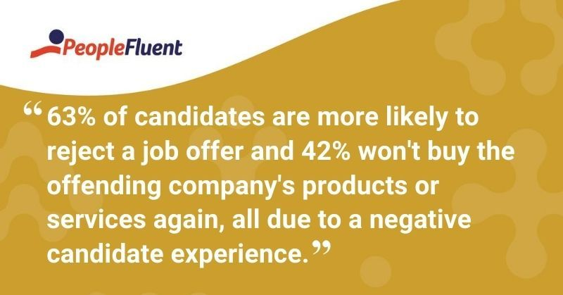"This is a quote: ""63% of candidates are more likely to reject a job offer and 42% won't buy the offending company's products or services again, all due to a negative candidate experience."""