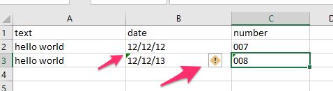 Excel data warning