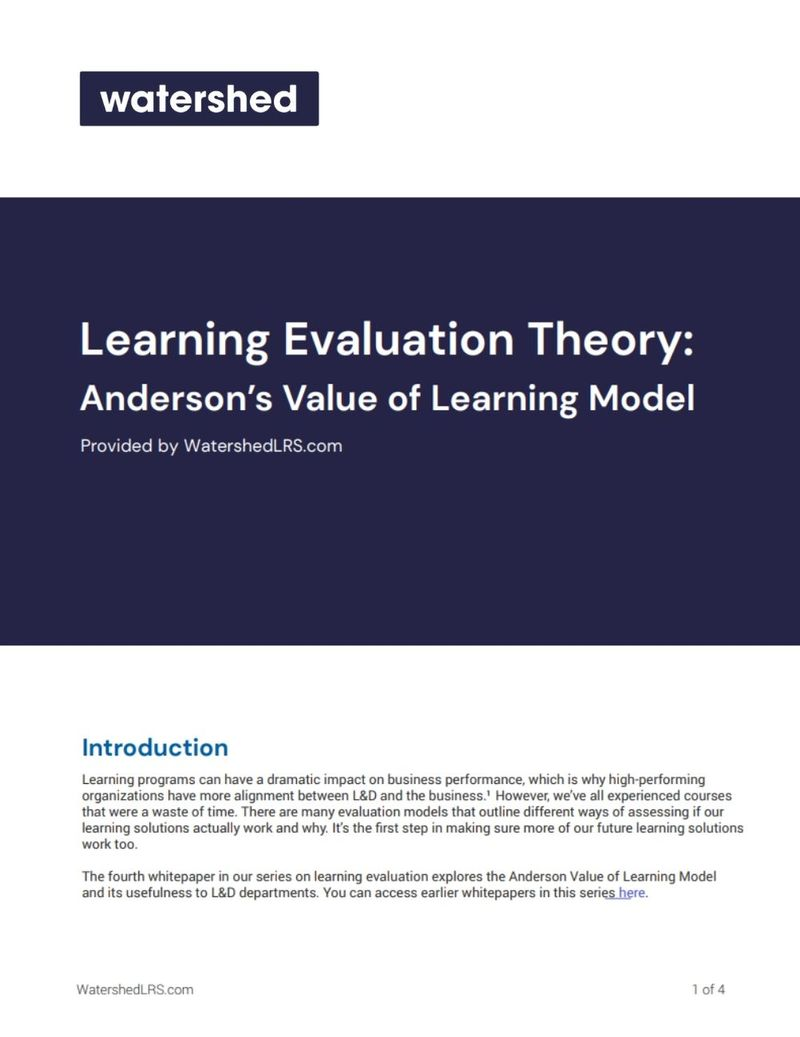 Anderson Learning Evaluation Model