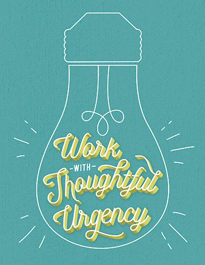 Work with thoughtful urgency decorative typeface