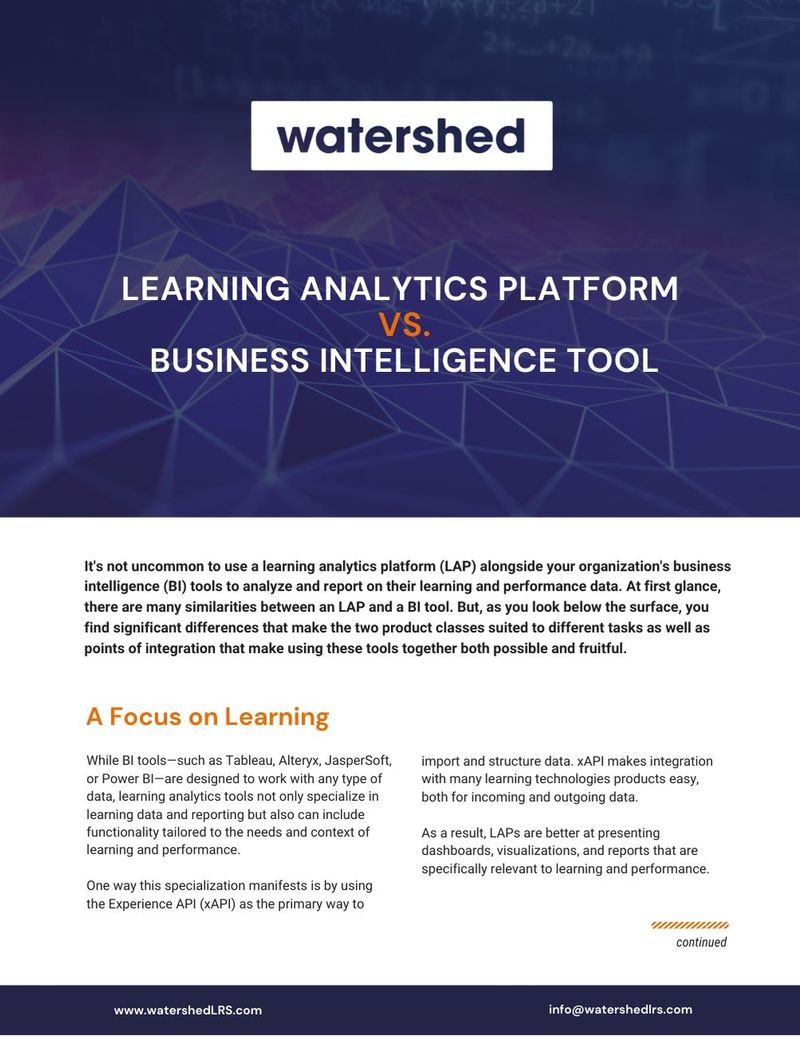 Download Learning Analytics Platform vs. Business Intelligence Tool eGuide