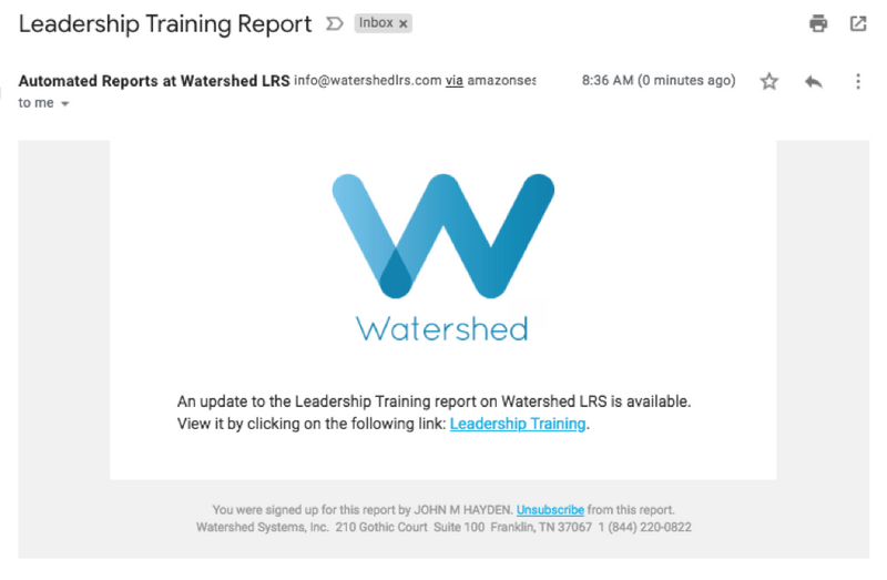 Watershed Report Subscription Emails