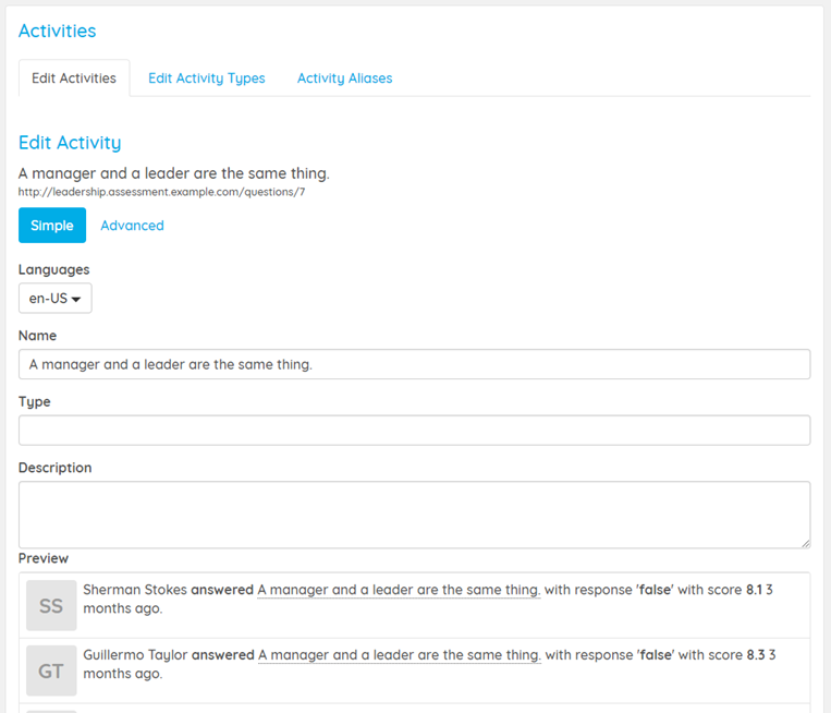 Use a learning analytics platform to edit activity definitions.