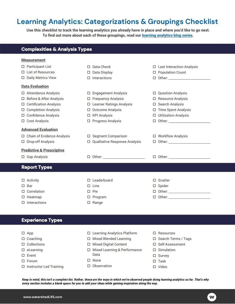 Learning Analytics Checklist