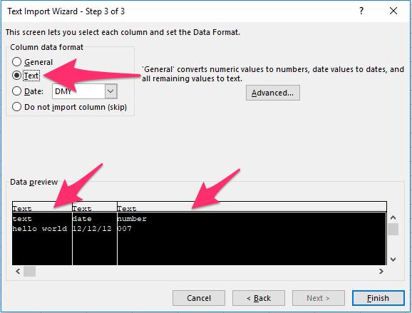 Change Excel column data format.
