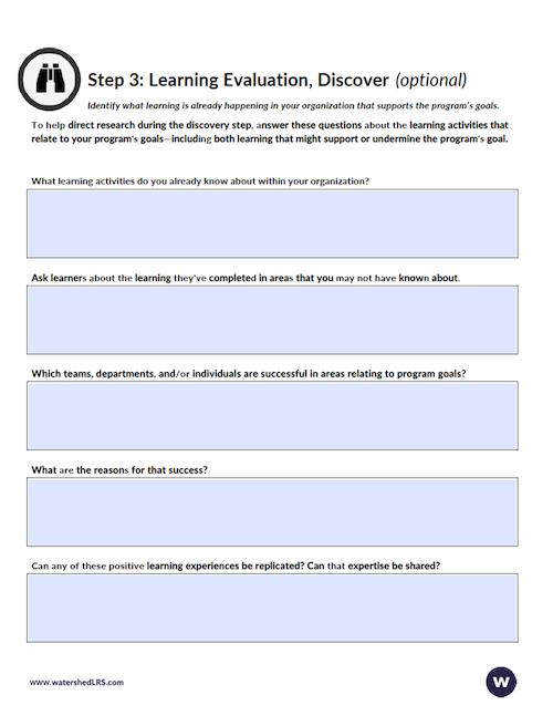 Learning Evaluation Worksheet Step 3