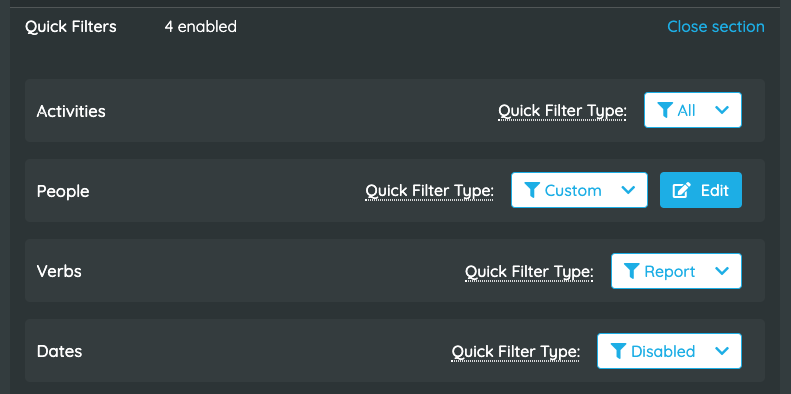 Watershed Quick Filter Customization