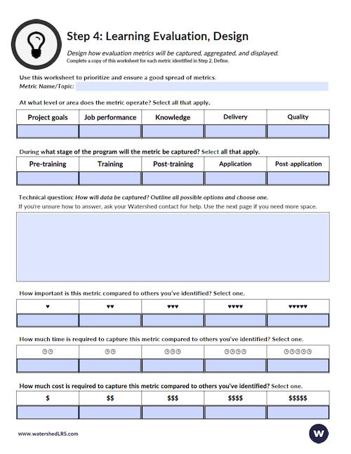 Learning Evaluation Worksheet Step 4