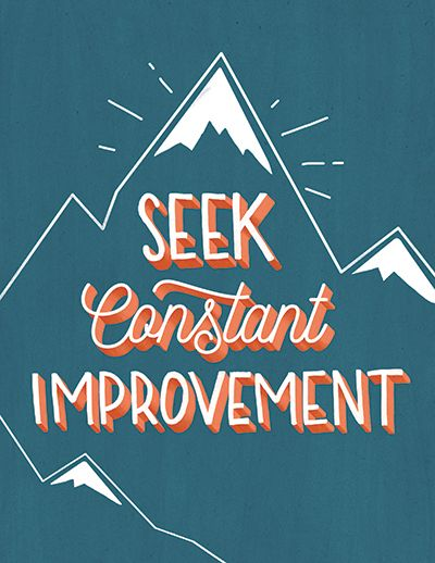 Seek constant improvement decorative typeface