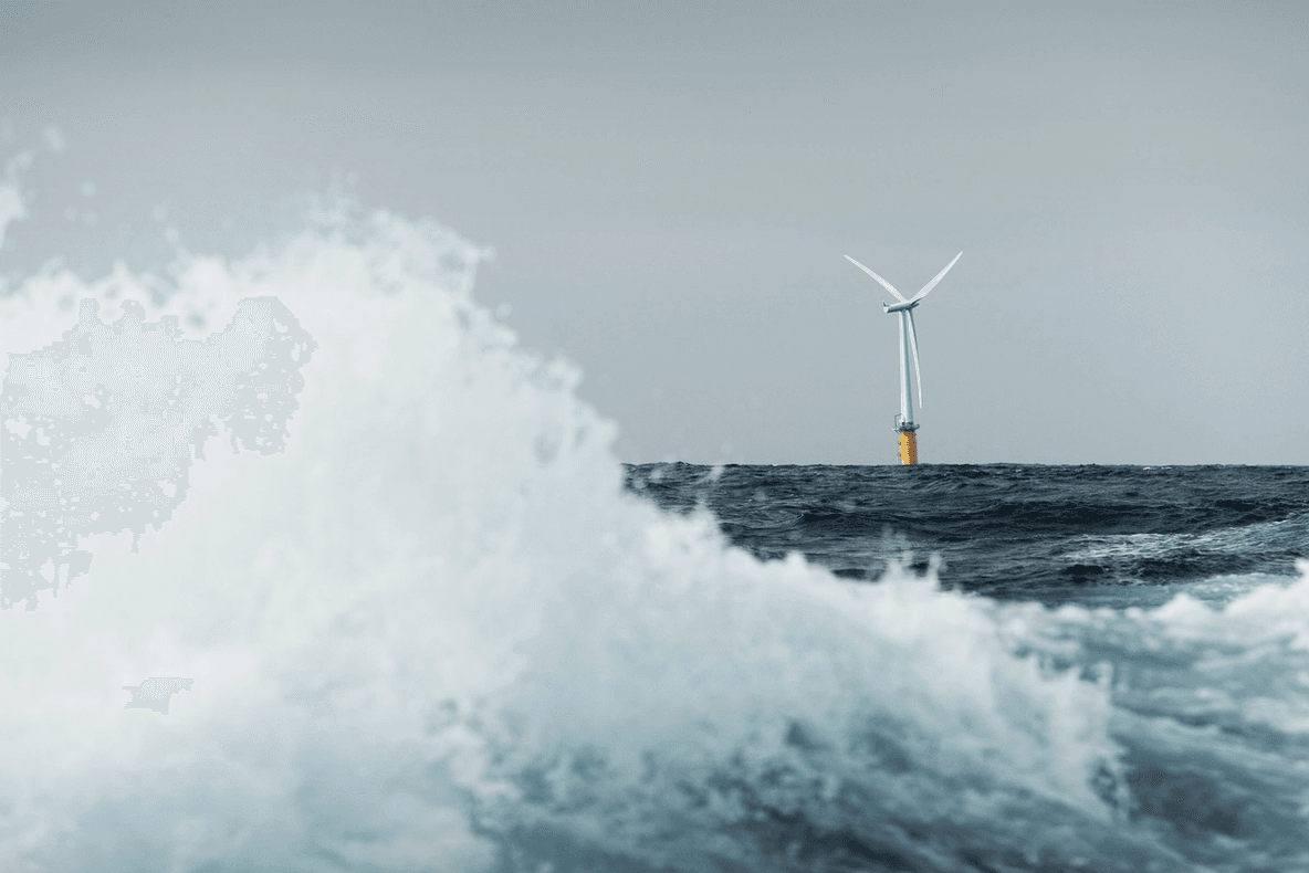 Hywind floating offshore wind turbine with a wave in the foreground