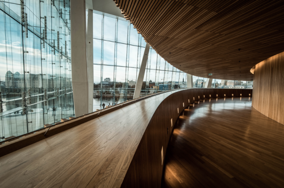 Indoor view of Oslo opera house