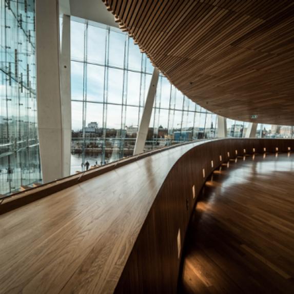 Indoor view of Oslo opera house