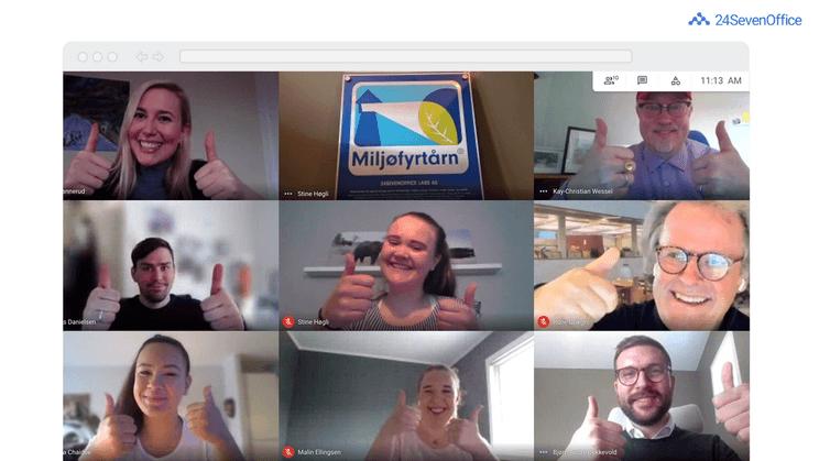 Skjermdump av Zoom-møte med åtte personer