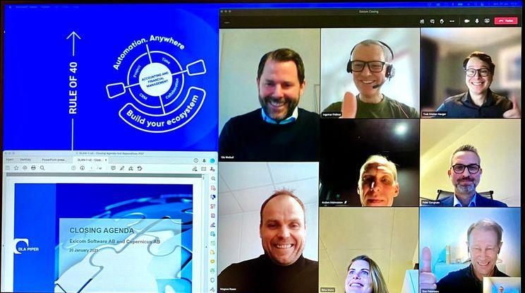 Ledere i 24SevenOffice + Exicom har et closing-møte på Zoom