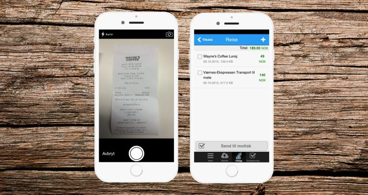 To smarttelefoner som viser innlegg av reiseregning