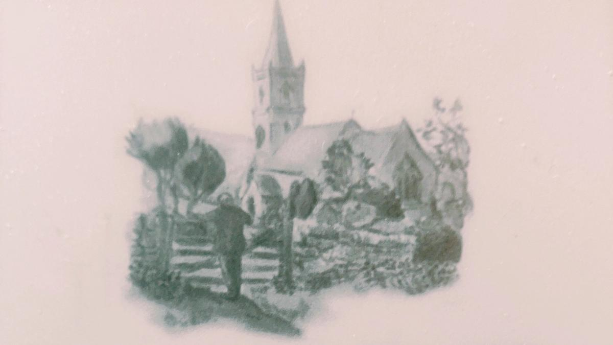 Cover of Battles at Thrush Green by Miss Read showing a drawing of a Church