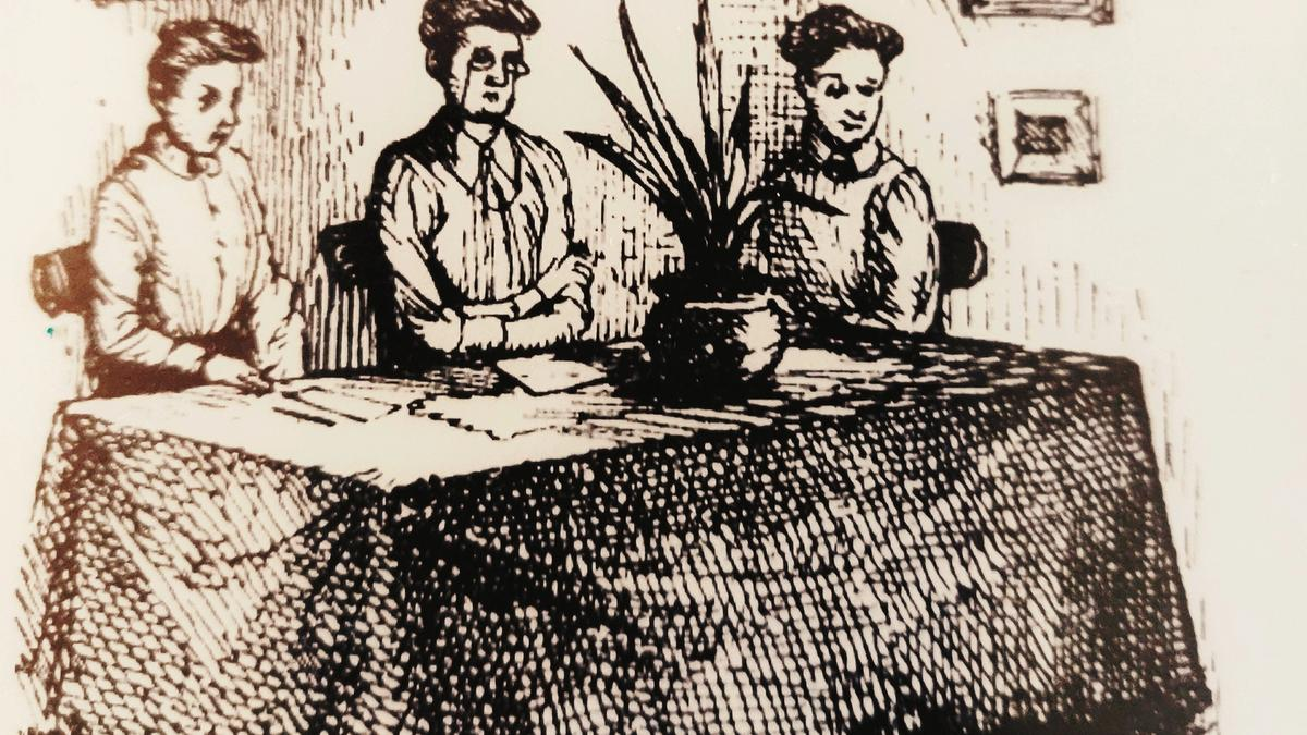 Illustration detail by J.S. Goodall showing 3 ladies sat at a table.