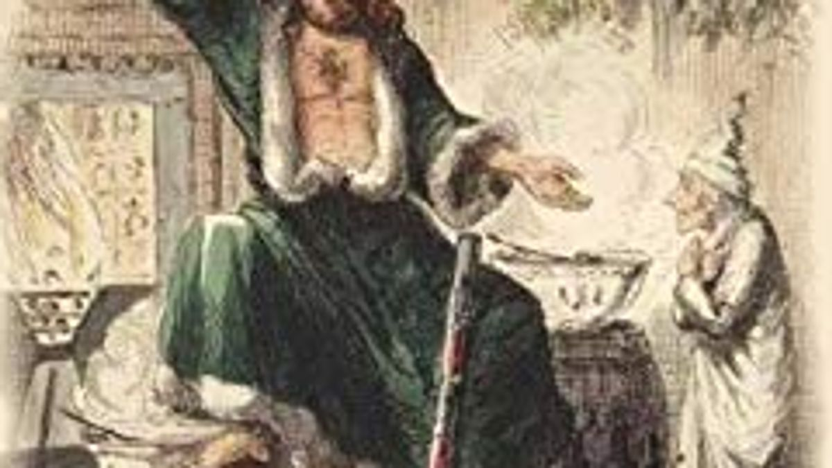 Photo Detail of A Christmas Carol by Charles Dickens showing Ebeneezer Scrooge meeting the Ghost of Christmas Present