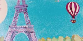 Cover detail from One Summer in Paris by Sarah Morgan showing a watercolour of the Eiffel Tower and 8 trees