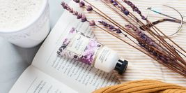 Image of open book with lavender