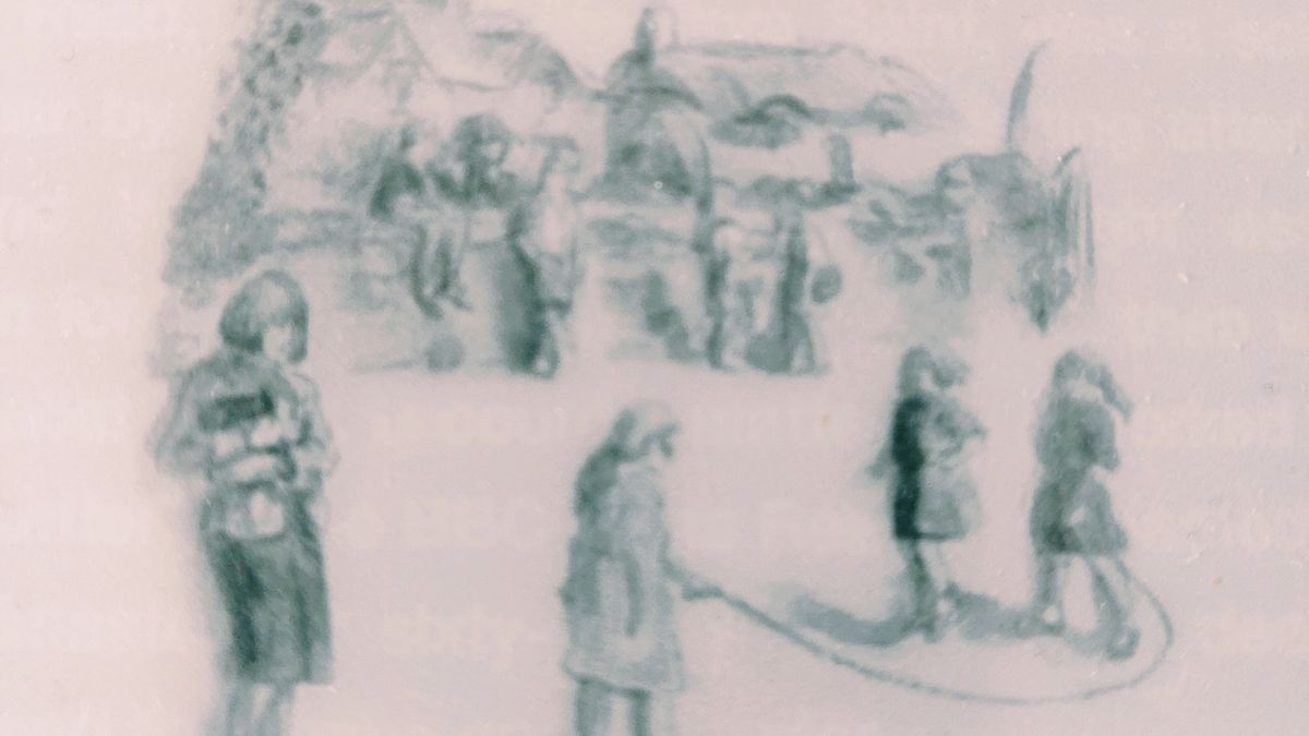 Cover detail of Return to Thrush Green by Miss Read showing children playing in a school yard
